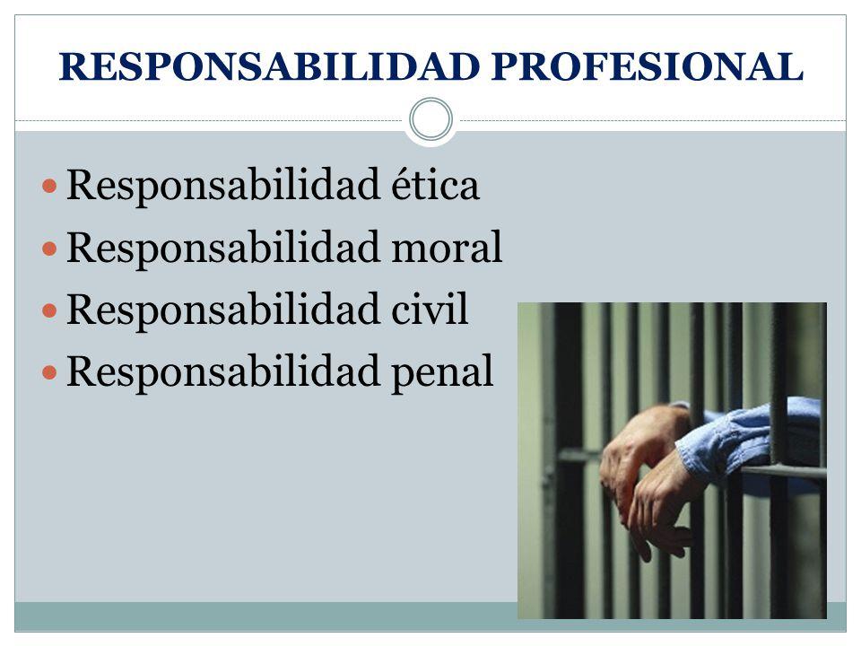 RESPONSABILIDAD PROFESIONAL Responsabilidad ética Responsabilidad moral Responsabilidad civil Responsabilidad penal
