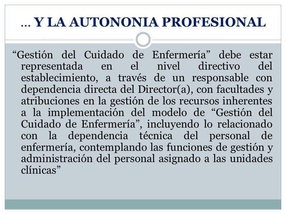 Gestión del Cuidado de Enfermería debe estar representada en el nivel directivo del establecimiento, a través de un responsable con dependencia direct