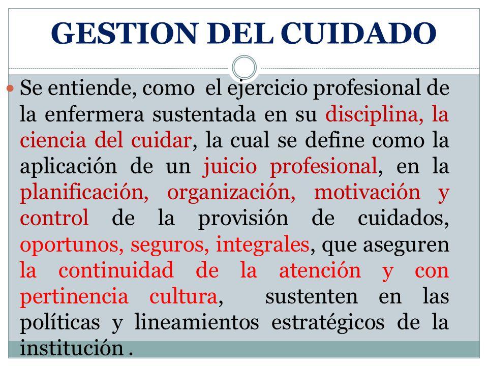GESTION DEL CUIDADO Se entiende, como el ejercicio profesional de la enfermera sustentada en su disciplina, la ciencia del cuidar, la cual se define c