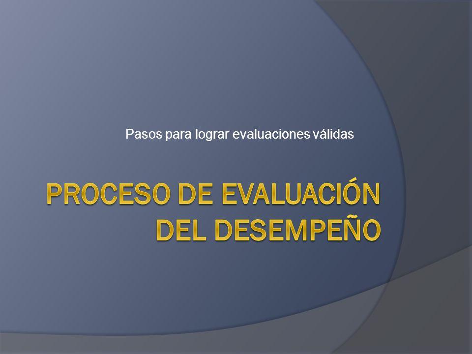 Pasos para lograr evaluaciones válidas