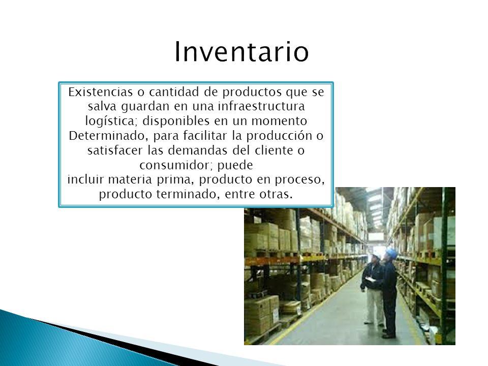 Existencias o cantidad de productos que se salva guardan en una infraestructura logística; disponibles en un momento Determinado, para facilitar la pr