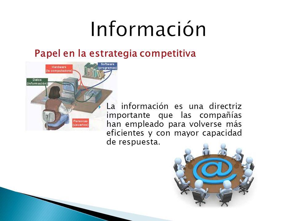 La información es una directriz importante que las compañías han empleado para volverse más eficientes y con mayor capacidad de respuesta. Papel en la