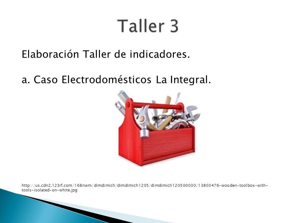 Elaboración Taller de indicadores. a. Caso Electrodomésticos La Integral. http://us.cdn2.123rf.com/168nwm/dimdimich/dimdimich1205/dimdimich120500030/1