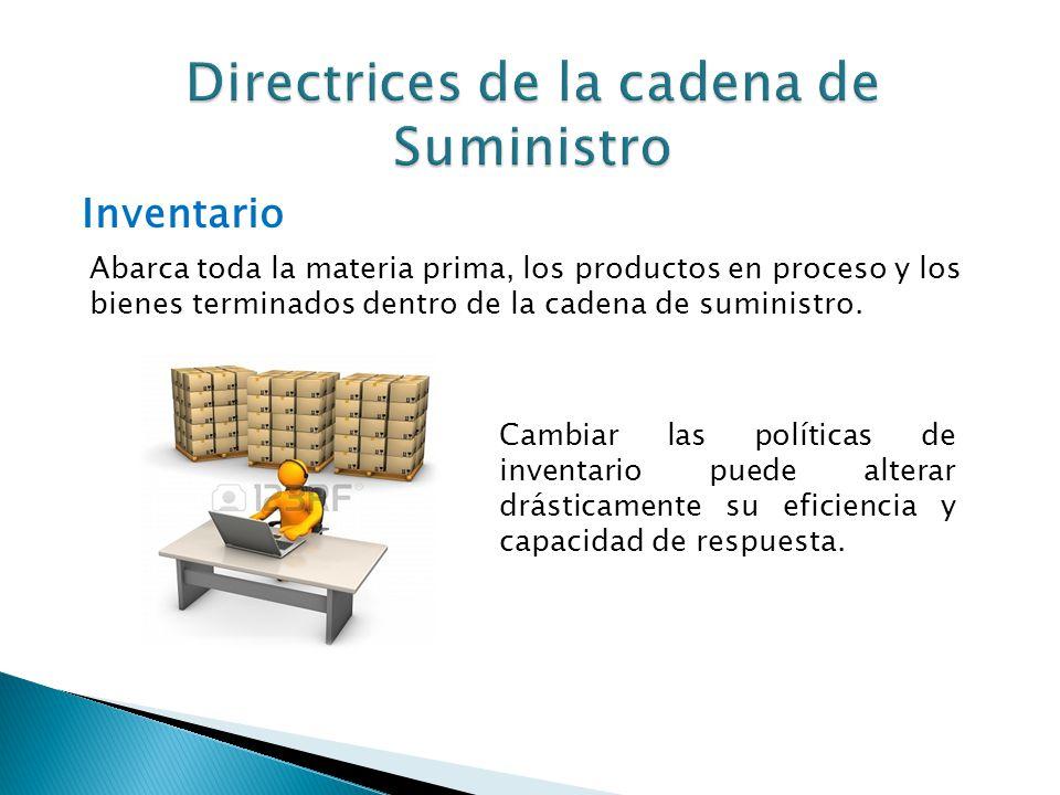 Inventario Abarca toda la materia prima, los productos en proceso y los bienes terminados dentro de la cadena de suministro. Cambiar las políticas de