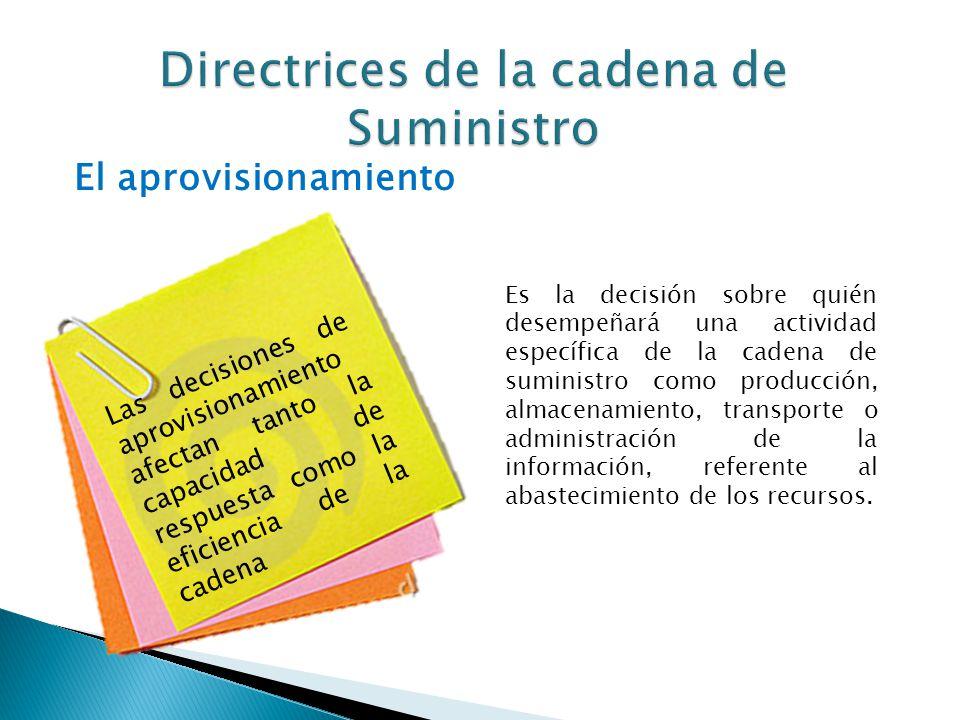 El aprovisionamiento Las decisiones de aprovisionamiento afectan tanto la capacidad de respuesta como la eficiencia de la cadena Es la decisión sobre