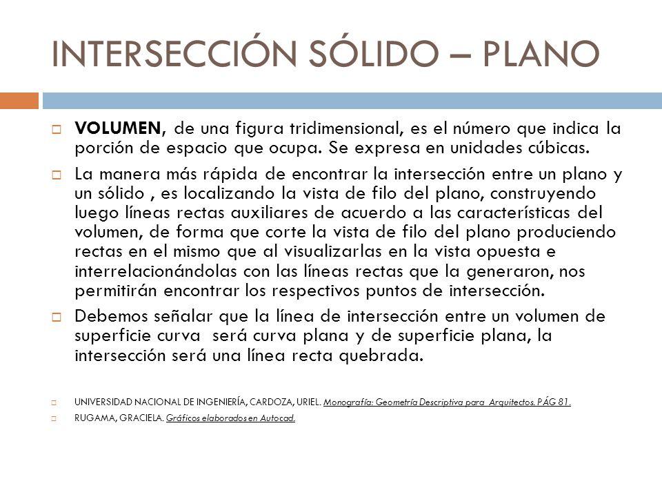 INTERSECCIÓN SÓLIDO – PLANO VOLUMEN, de una figura tridimensional, es el número que indica la porción de espacio que ocupa. Se expresa en unidades cúb