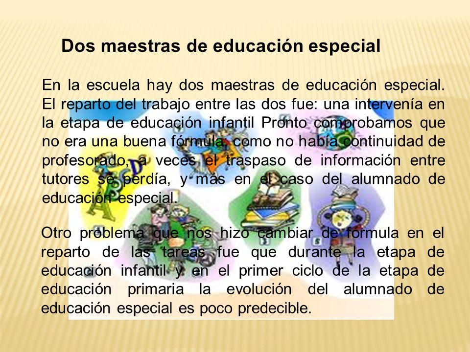 Dos maestras de educación especial Otro problema que nos hizo cambiar de fórmula en el reparto de las tareas fue que durante la etapa de educación infantil y en el primer ciclo de la etapa de educación primaria la evolución del alumnado de educación especial es poco predecible.