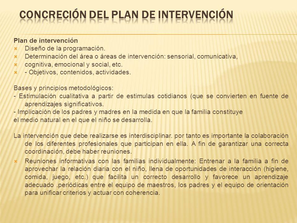 Plan de intervención Diseño de la programación. Determinación del área o áreas de intervención: sensorial, comunicativa, cognitiva, emocional y social