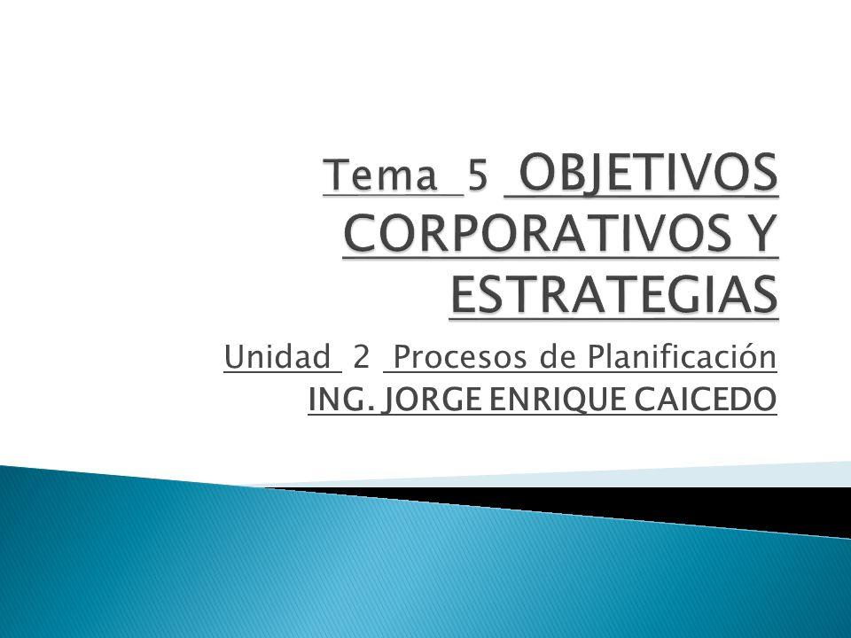 Unidad 2 Procesos de Planificación ING. JORGE ENRIQUE CAICEDO