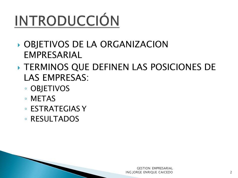 OBJETIVOS DE LA ORGANIZACION EMPRESARIAL TERMINOS QUE DEFINEN LAS POSICIONES DE LAS EMPRESAS: OBJETIVOS METAS ESTRATEGIAS Y RESULTADOS 2 GESTION EMPRESARIAL ING JORGE ENRIQUE CAICEDO