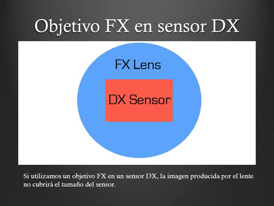 Si utilizamos un objetivo FX en un sensor DX, la imagen producida por el lente no cubrirá el tamaño del sensor. Objetivo FX en sensor DX