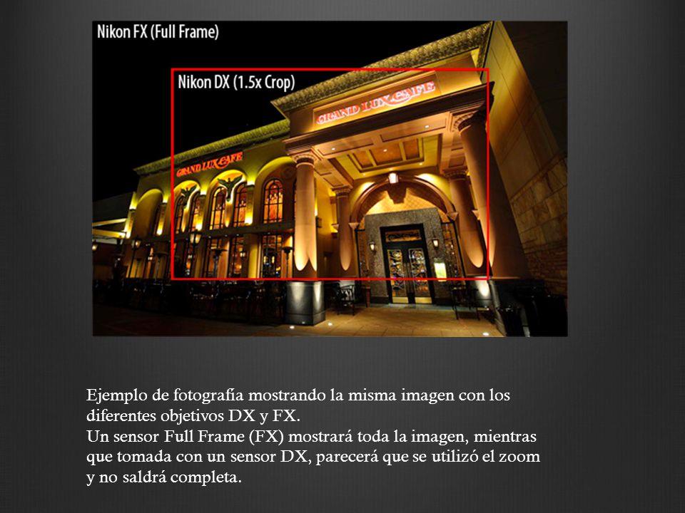 Ejemplo de fotografía mostrando la misma imagen con los diferentes objetivos DX y FX. Un sensor Full Frame (FX) mostrará toda la imagen, mientras que