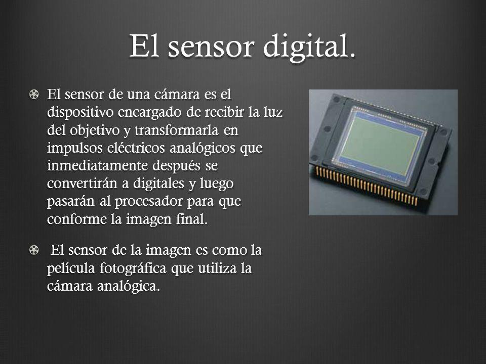 El sensor digital. El sensor de una cámara es el dispositivo encargado de recibir la luz del objetivo y transformarla en impulsos eléctricos analógico