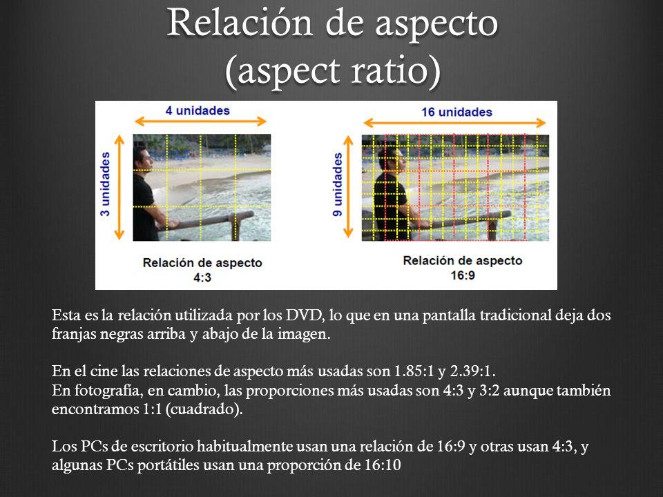 Relación de aspecto (aspect ratio) Esta es la relación utilizada por los DVD, lo que en una pantalla tradicional deja dos franjas negras arriba y abaj