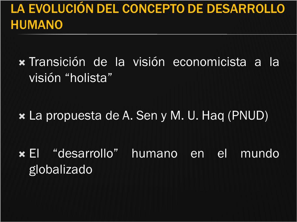 LA EVOLUCIÓN DEL CONCEPTO DE DESARROLLO HUMANO Transición de la visión economicista a la visión holista La propuesta de A. Sen y M. U. Haq (PNUD) El d