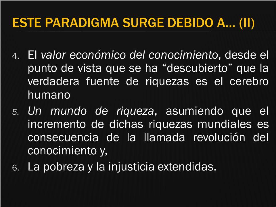 ESTE PARADIGMA SURGE DEBIDO A… (II) 4. El valor económico del conocimiento, desde el punto de vista que se ha descubierto que la verdadera fuente de r