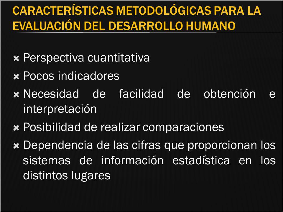 CARACTERÍSTICAS METODOLÓGICAS PARA LA EVALUACIÓN DEL DESARROLLO HUMANO Perspectiva cuantitativa Pocos indicadores Necesidad de facilidad de obtención