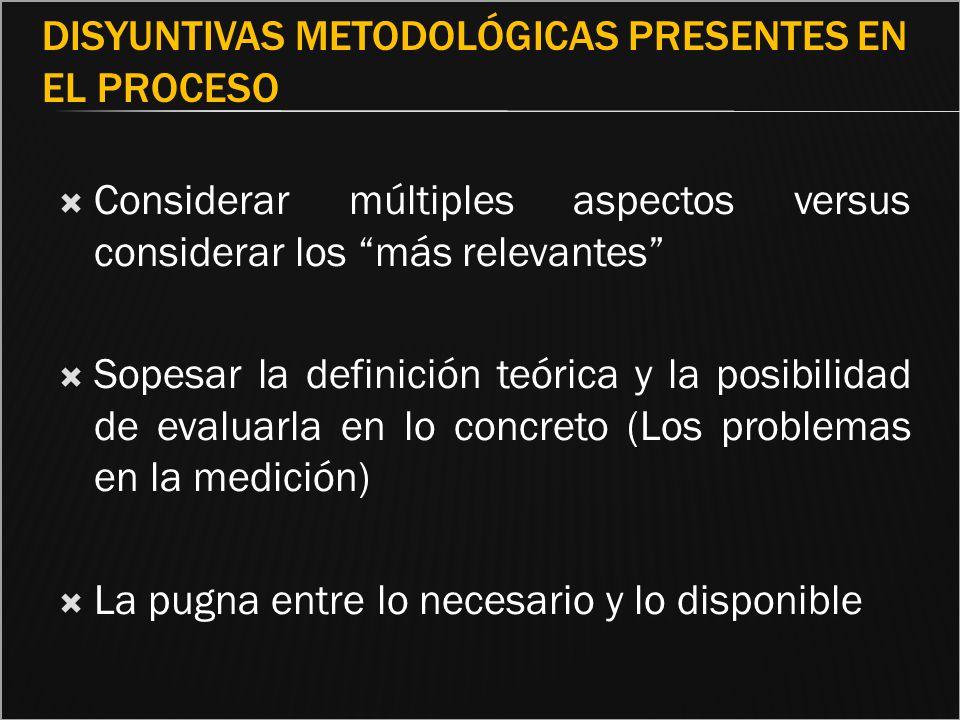 DISYUNTIVAS METODOLÓGICAS PRESENTES EN EL PROCESO Considerar múltiples aspectos versus considerar los más relevantes Sopesar la definición teórica y l