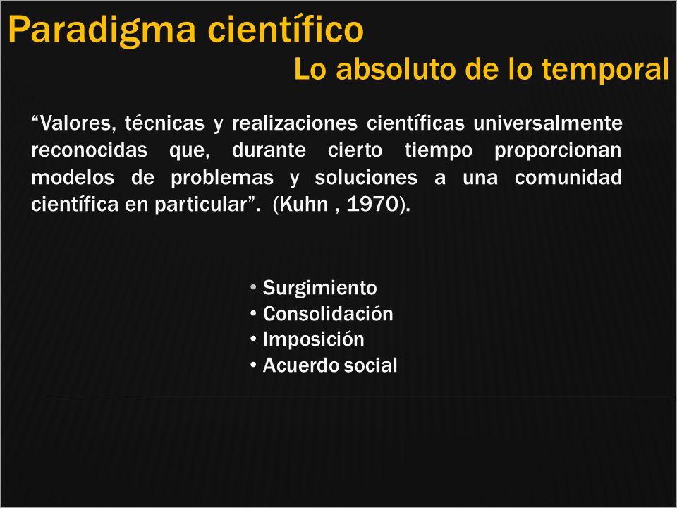 Valores, técnicas y realizaciones científicas universalmente reconocidas que, durante cierto tiempo proporcionan modelos de problemas y soluciones a u