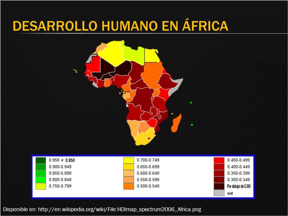 Disponible en: http://en.wikipedia.org/wiki/File:HDImap_spectrum2006_Africa.png DESARROLLO HUMANO EN ÁFRICA