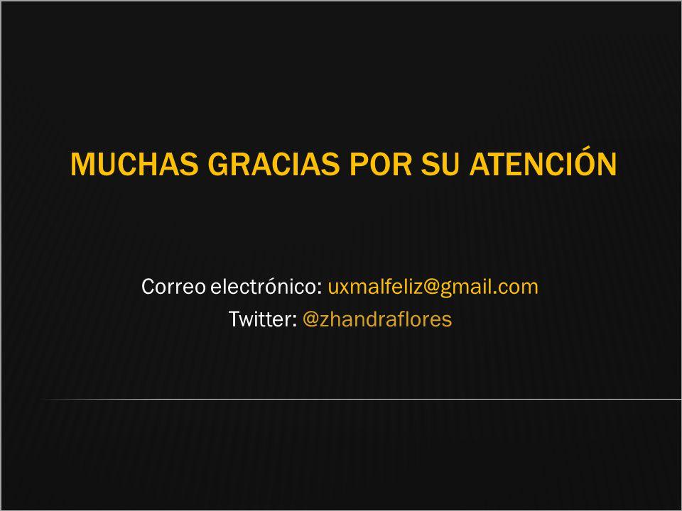 MUCHAS GRACIAS POR SU ATENCIÓN Correo electrónico: uxmalfeliz@gmail.com Twitter: @zhandraflores