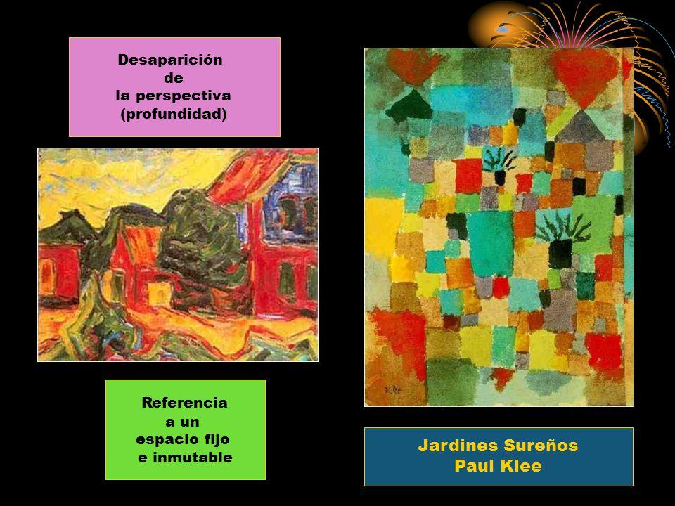 Desaparición de la perspectiva (profundidad) Jardines Sureños Paul Klee Referencia a un espacio fijo e inmutable