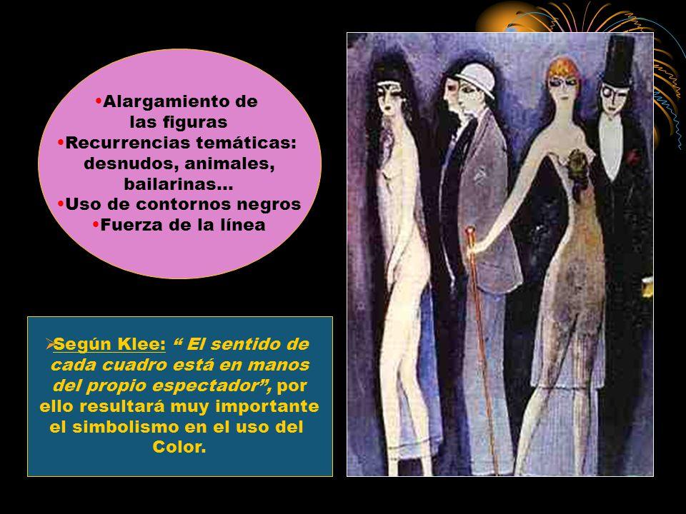 Alargamiento de las figuras Recurrencias temáticas: desnudos, animales, bailarinas… Uso de contornos negros Fuerza de la línea Según Klee: El sentido