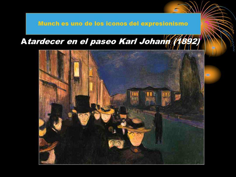 Atardecer en el paseo Karl Johann (1892) Munch es uno de los iconos del expresionismo