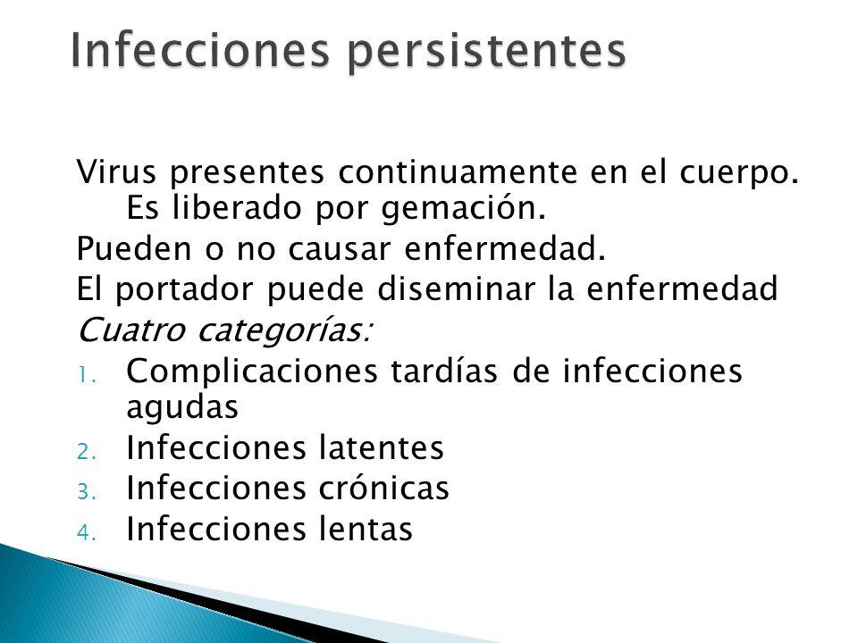Virus presentes continuamente en el cuerpo. Es liberado por gemación. Pueden o no causar enfermedad. El portador puede diseminar la enfermedad Cuatro