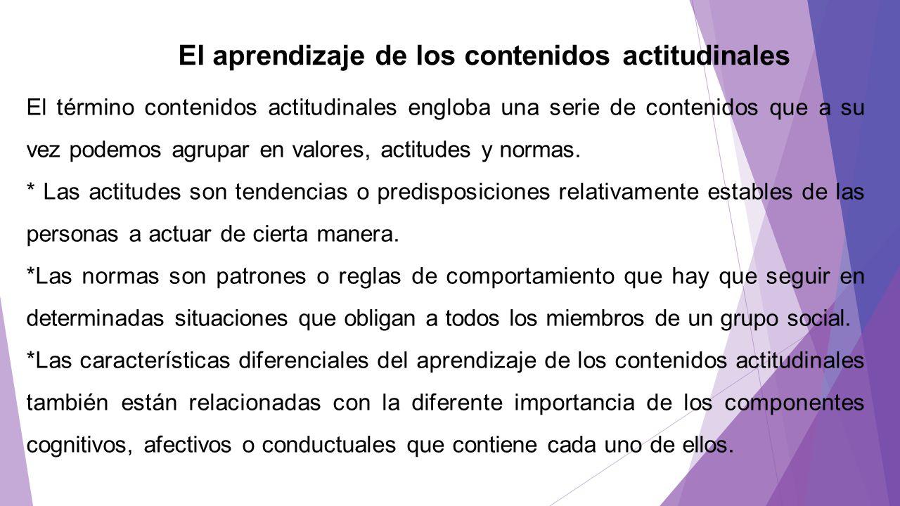 El aprendizaje de los contenidos actitudinales El término contenidos actitudinales engloba una serie de contenidos que a su vez podemos agrupar en val