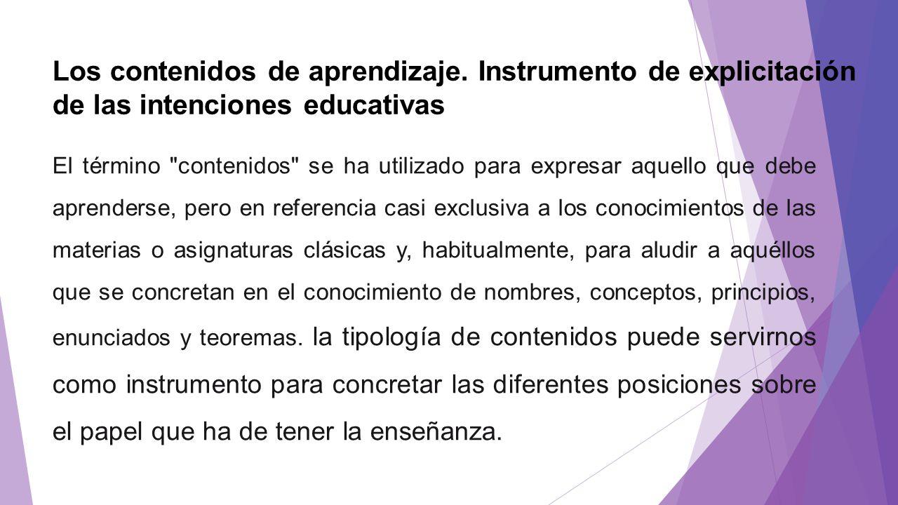 Los contenidos de aprendizaje. Instrumento de explicitación de las intenciones educativas El término