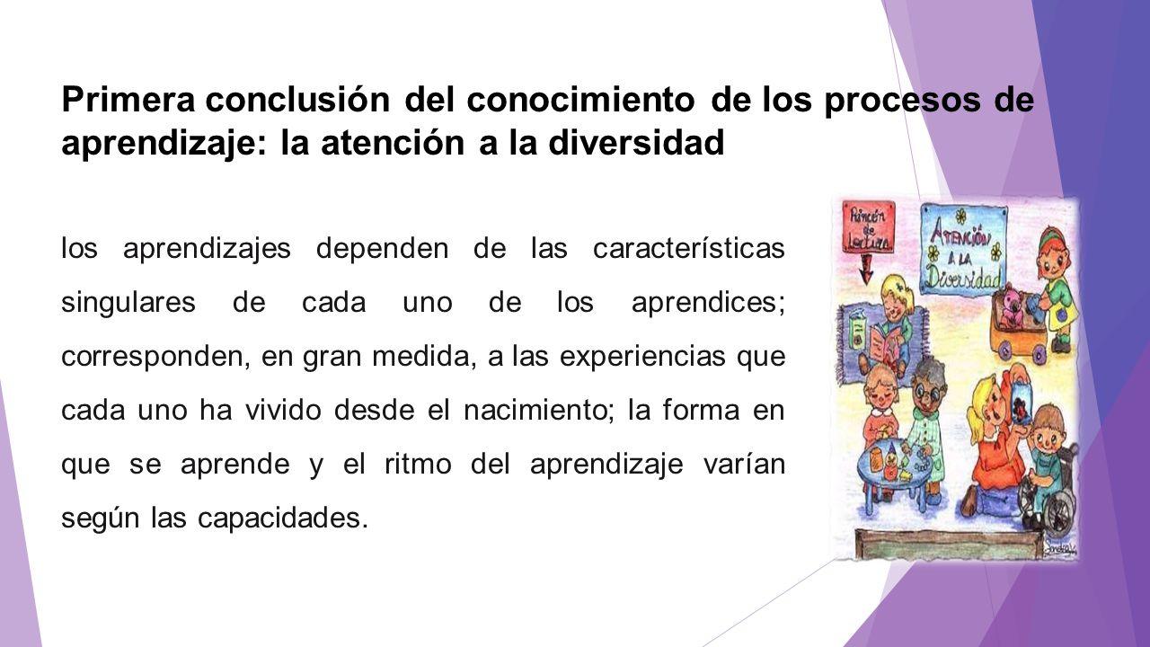 Primera conclusión del conocimiento de los procesos de aprendizaje: la atención a la diversidad los aprendizajes dependen de las características singu