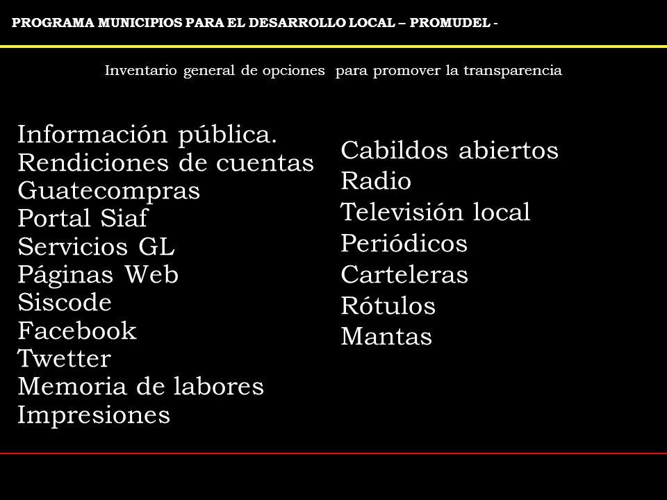 Inventario general de opciones para promover la transparencia PROGRAMA MUNICIPIOS PARA EL DESARROLLO LOCAL – PROMUDEL - Información pública.