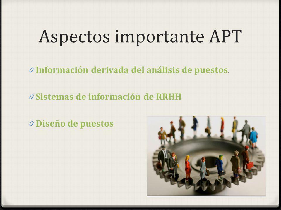 Aspectos importante APT 0 Información derivada del análisis de puestos. 0 Sistemas de información de RRHH 0 Diseño de puestos