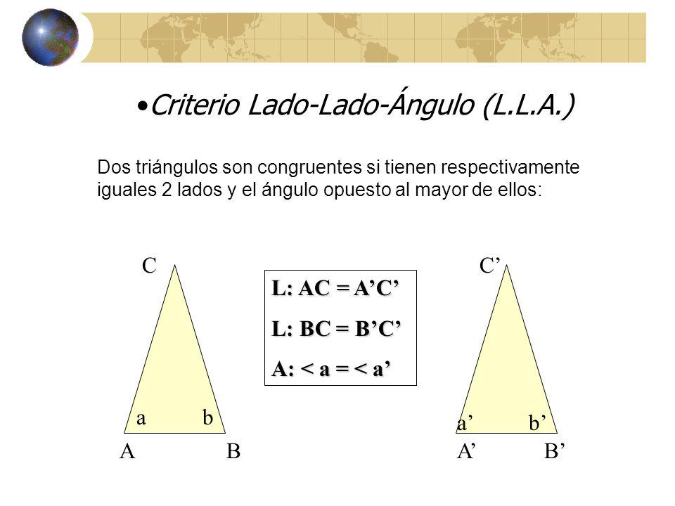 Criterio Lado-Ángulo-Lado (L.A.L) A BA B C a b L: AC = AC A: < a = <a L: AB = AB Dos triángulos son congruentes si tienen respectivamente iguales 2 lados y el ángulo comprendido entre ellos : a b