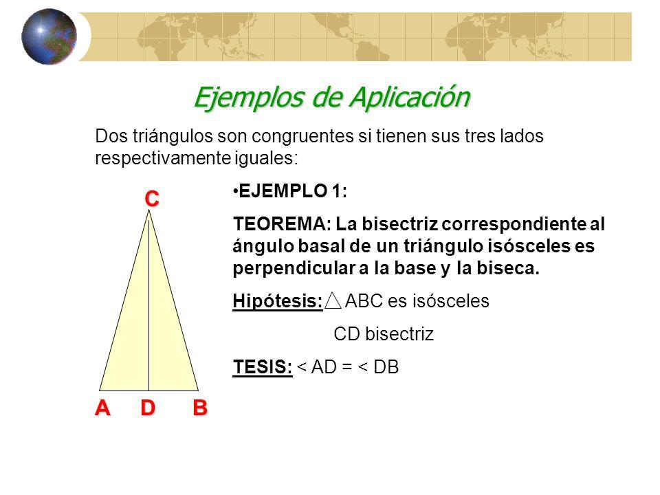 Criterio Lado-Lado-Lado A B C a b L: AC = AC L: BC = BC L: AB = AB a b Dos triángulos son congruentes si tienen sus tres lados respectivamente iguales: