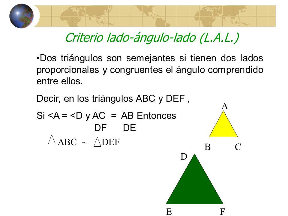 Criterio ángulo-ángulo (A-A) Si dos ángulos de un triángulo son congruentes a dos ángulos de un segundo triángulo, entonces estos dos triángulos son semejantes.