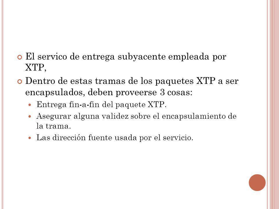 El servico de entrega subyacente empleada por XTP, Dentro de estas tramas de los paquetes XTP a ser encapsulados, deben proveerse 3 cosas: Entrega fin
