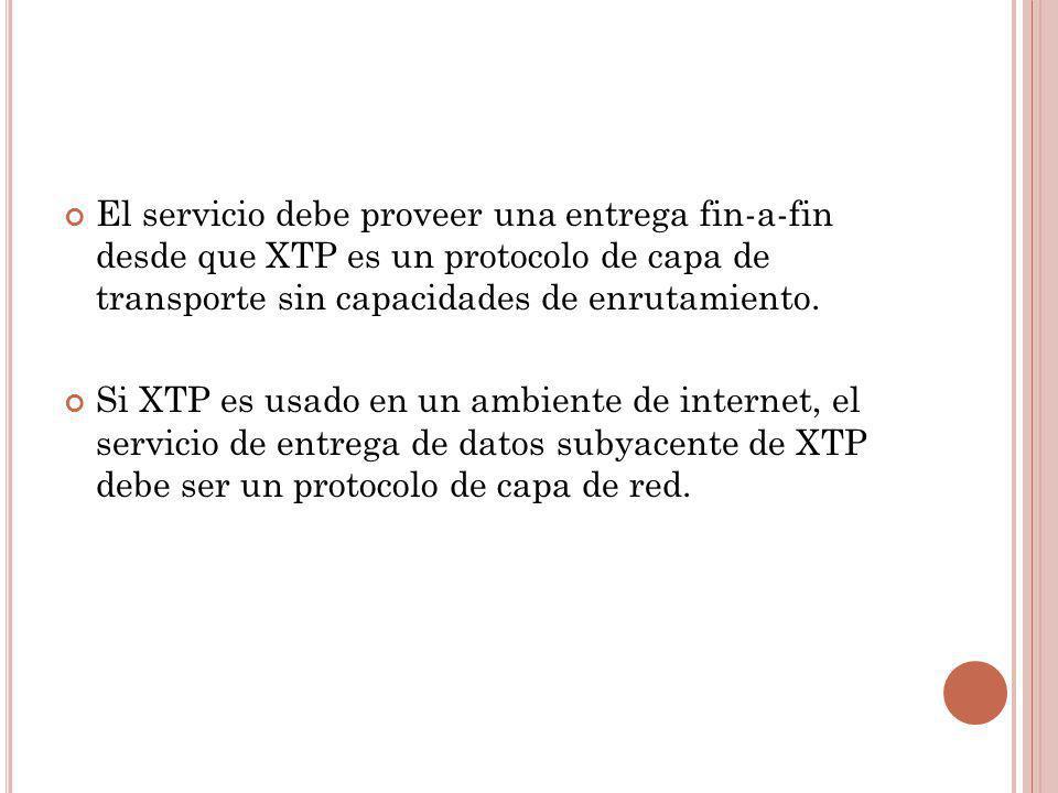 El servicio debe proveer una entrega fin-a-fin desde que XTP es un protocolo de capa de transporte sin capacidades de enrutamiento. Si XTP es usado en