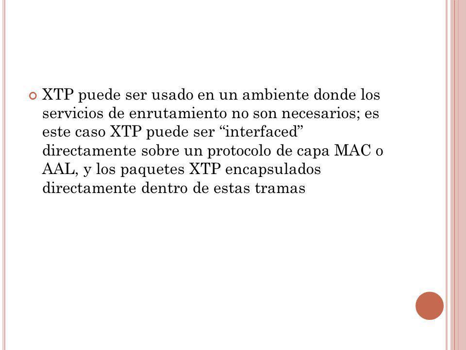 XTP puede ser usado en un ambiente donde los servicios de enrutamiento no son necesarios; es este caso XTP puede ser interfaced directamente sobre un