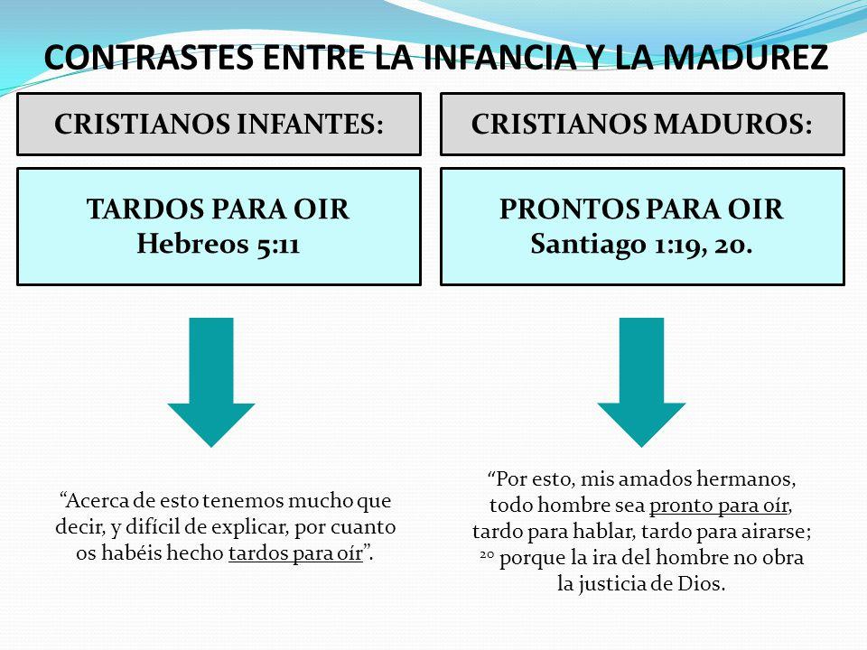 CONTRASTES ENTRE LA INFANCIA Y LA MADUREZ CRISTIANOS INFANTES:CRISTIANOS MADUROS: PRONTOS PARA OIR Santiago 1:19, 20. Acerca de esto tenemos mucho que