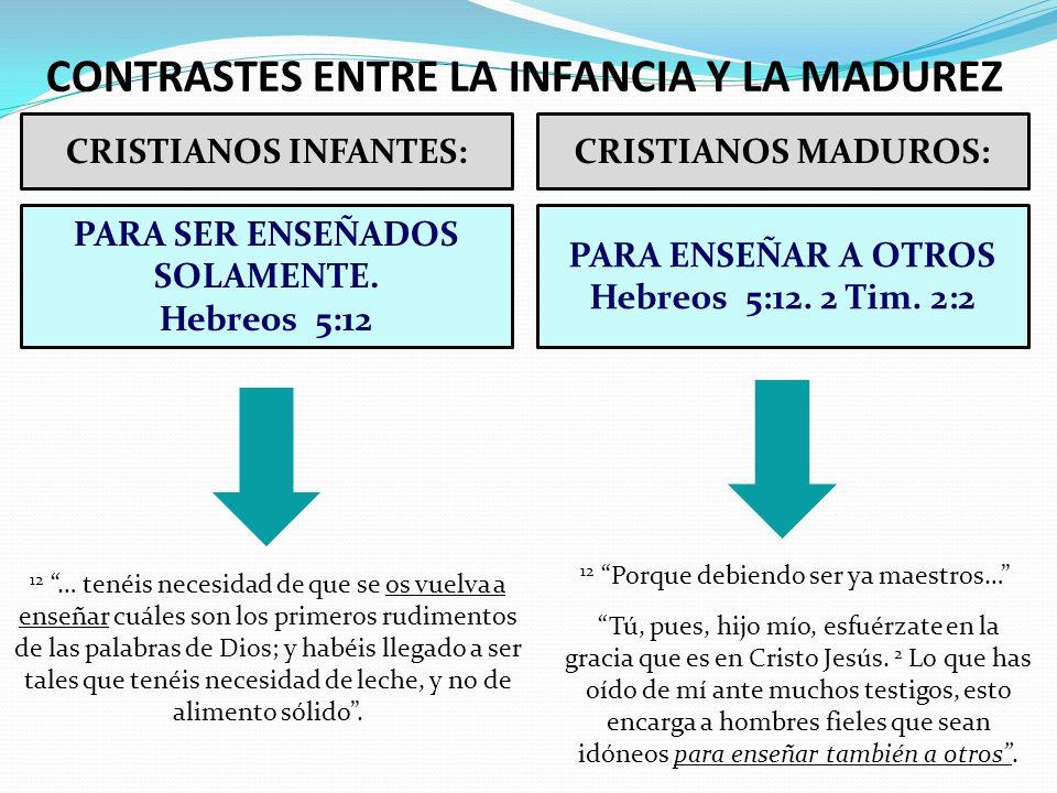 CONTRASTES ENTRE LA INFANCIA Y LA MADUREZ CRISTIANOS INFANTES:CRISTIANOS MADUROS: PARA SER ENSEÑADOS SOLAMENTE. Hebreos 5:12 PARA ENSEÑAR A OTROS Hebr