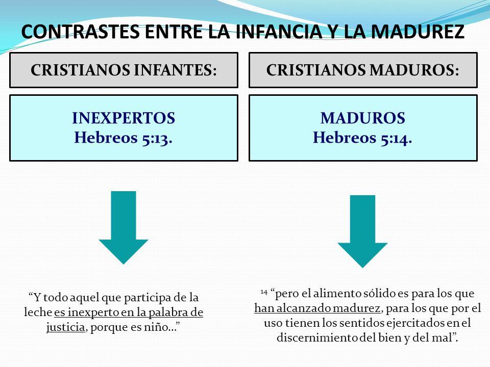 CRISTIANOS INFANTES:CRISTIANOS MADUROS: INEXPERTOS Hebreos 5:13. MADUROS Hebreos 5:14. CONTRASTES ENTRE LA INFANCIA Y LA MADUREZ Y todo aquel que part