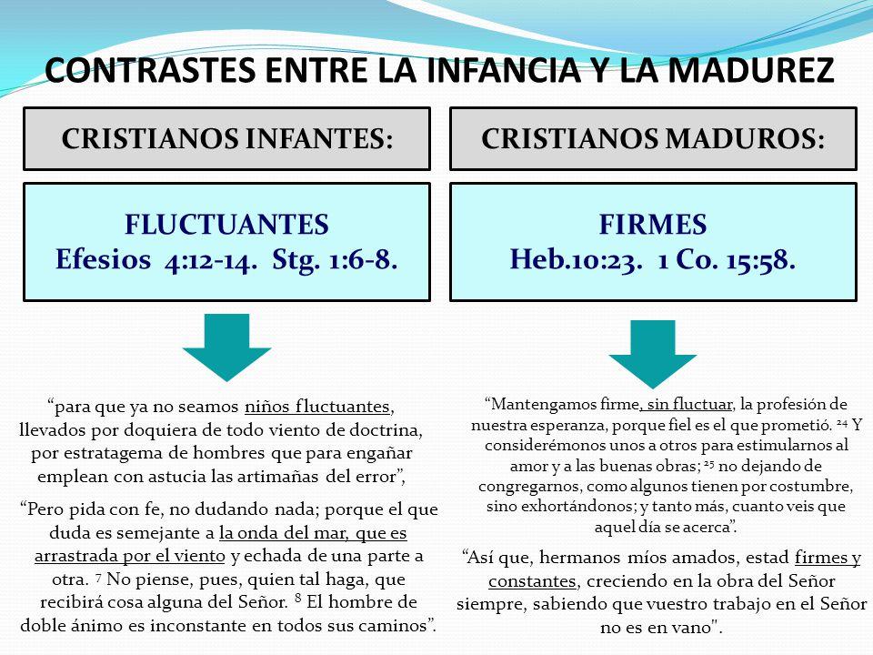 CRISTIANOS INFANTES:CRISTIANOS MADUROS: FLUCTUANTES Efesios 4:12-14. Stg. 1:6-8. FIRMES Heb.10:23. 1 Co. 15:58. CONTRASTES ENTRE LA INFANCIA Y LA MADU