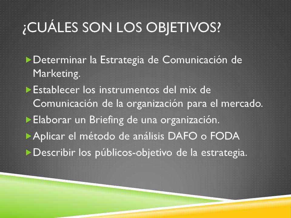 ¿CUÁLES SON LOS OBJETIVOS? Determinar la Estrategia de Comunicación de Marketing. Establecer los instrumentos del mix de Comunicación de la organizaci