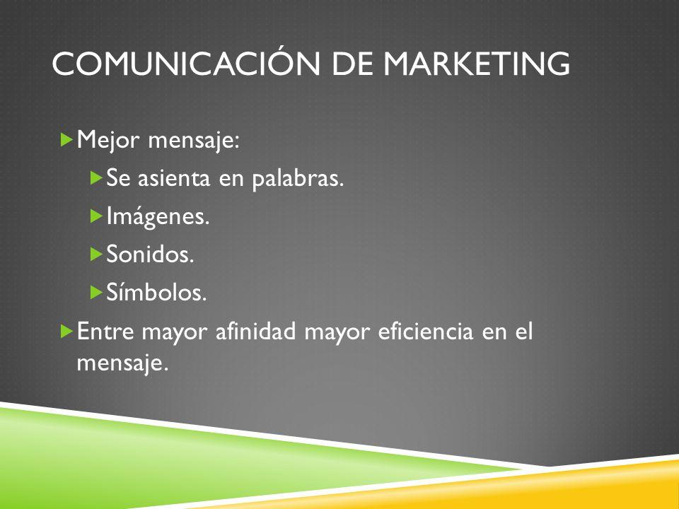 COMUNICACIÓN DE MARKETING Mejor mensaje: Se asienta en palabras. Imágenes. Sonidos. Símbolos. Entre mayor afinidad mayor eficiencia en el mensaje.
