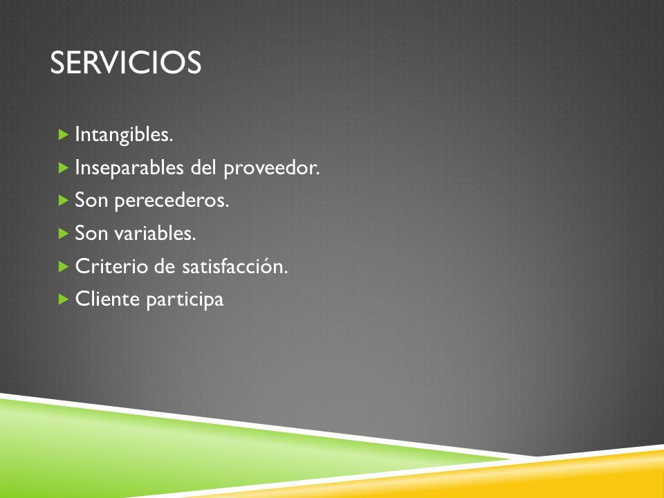 SERVICIOS Intangibles. Inseparables del proveedor. Son perecederos. Son variables. Criterio de satisfacción. Cliente participa
