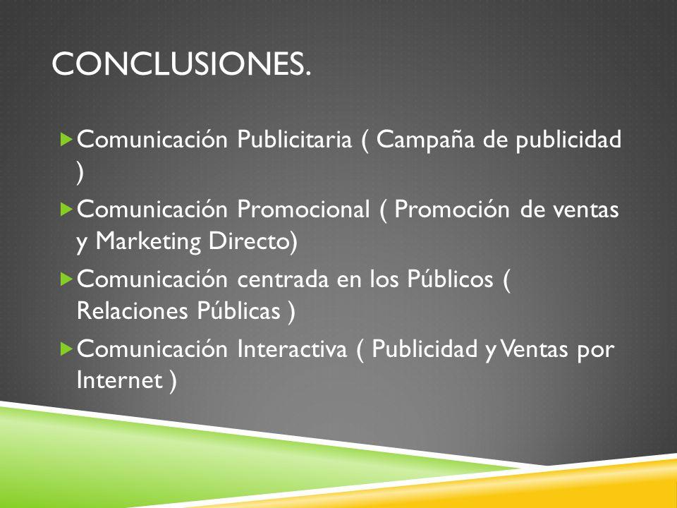 CONCLUSIONES. Comunicación Publicitaria ( Campaña de publicidad ) Comunicación Promocional ( Promoción de ventas y Marketing Directo) Comunicación cen
