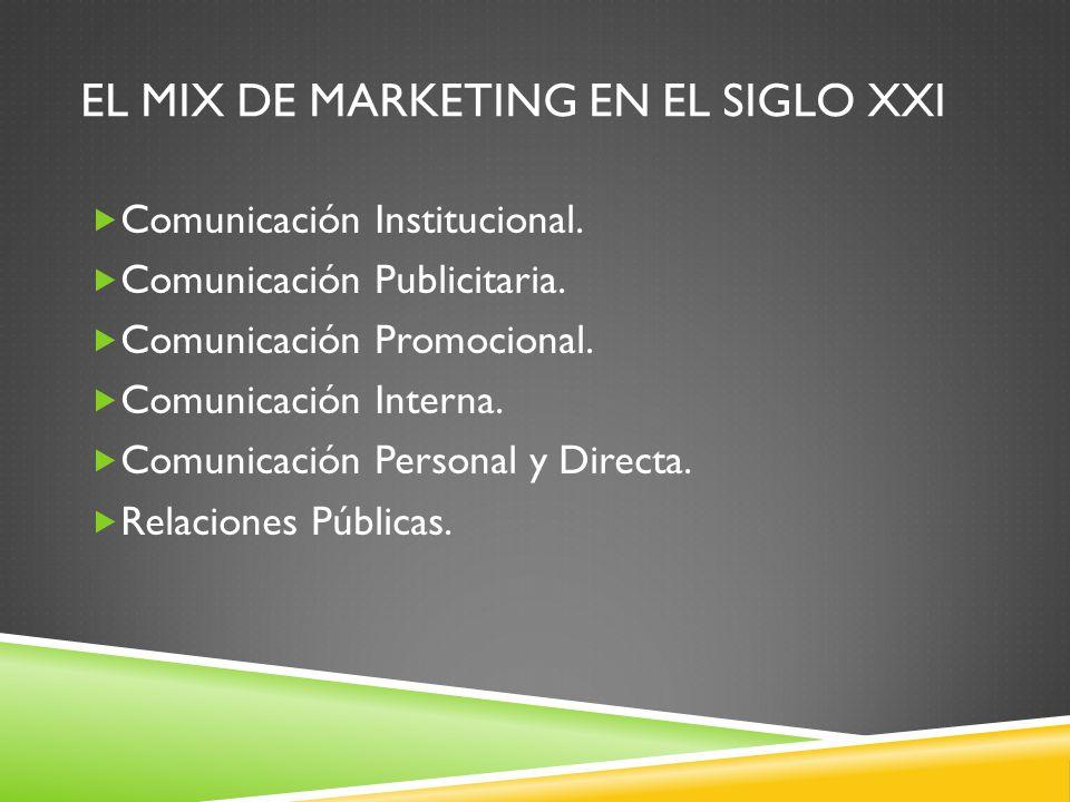 EL MIX DE MARKETING EN EL SIGLO XXI Comunicación Institucional. Comunicación Publicitaria. Comunicación Promocional. Comunicación Interna. Comunicació