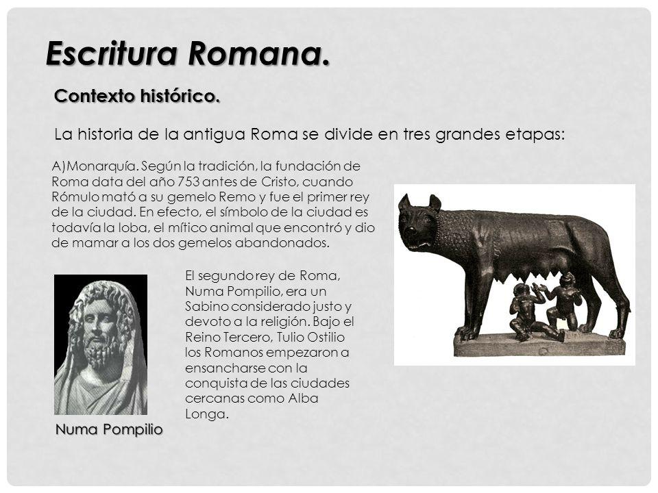 Contexto histórico.Escritura Romana. A)Monarquía.